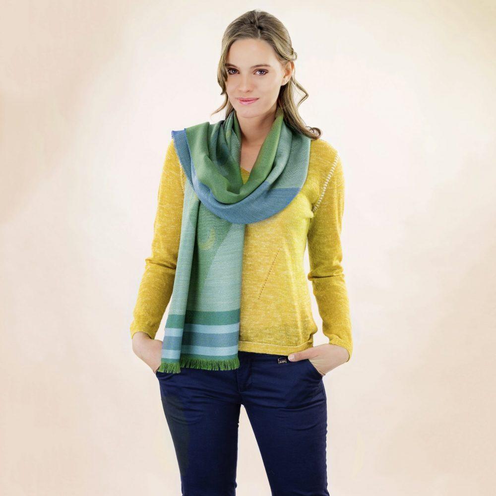DIAMONDS écharpe en baby alpaga et soie - écharpes, bonnets et pulls en alpaga. Fine Alpaca, fine laine et coton du Pérou, vêtements en fibres naturelles.