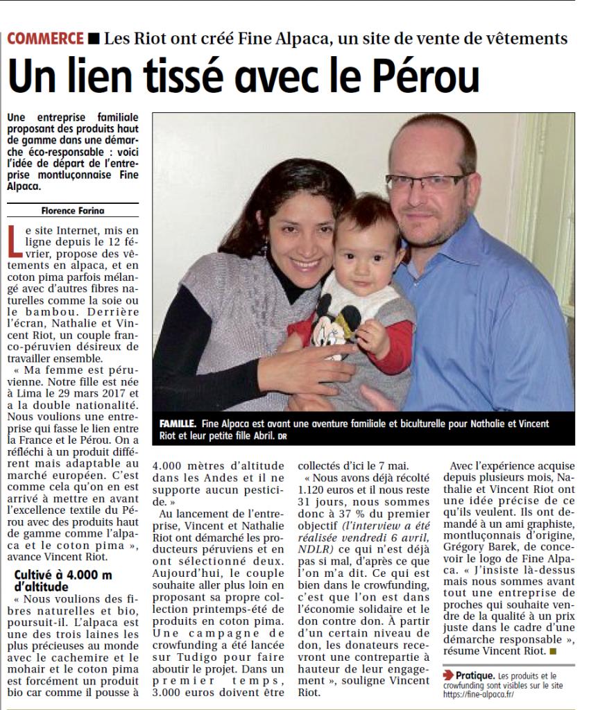 Presse Article La Montagne Montluçon - Fine Alpaca