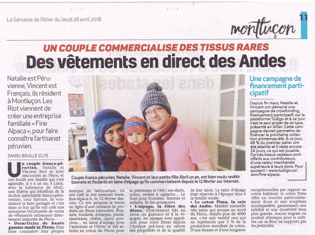 Presse Article La Semaine de l'Allier - Fine Alpaca