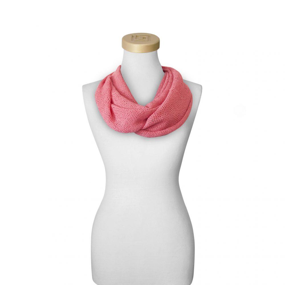 Echarpe collier rose en bébé alpaga et soie Fine Alpaca Fine laine du Pérou