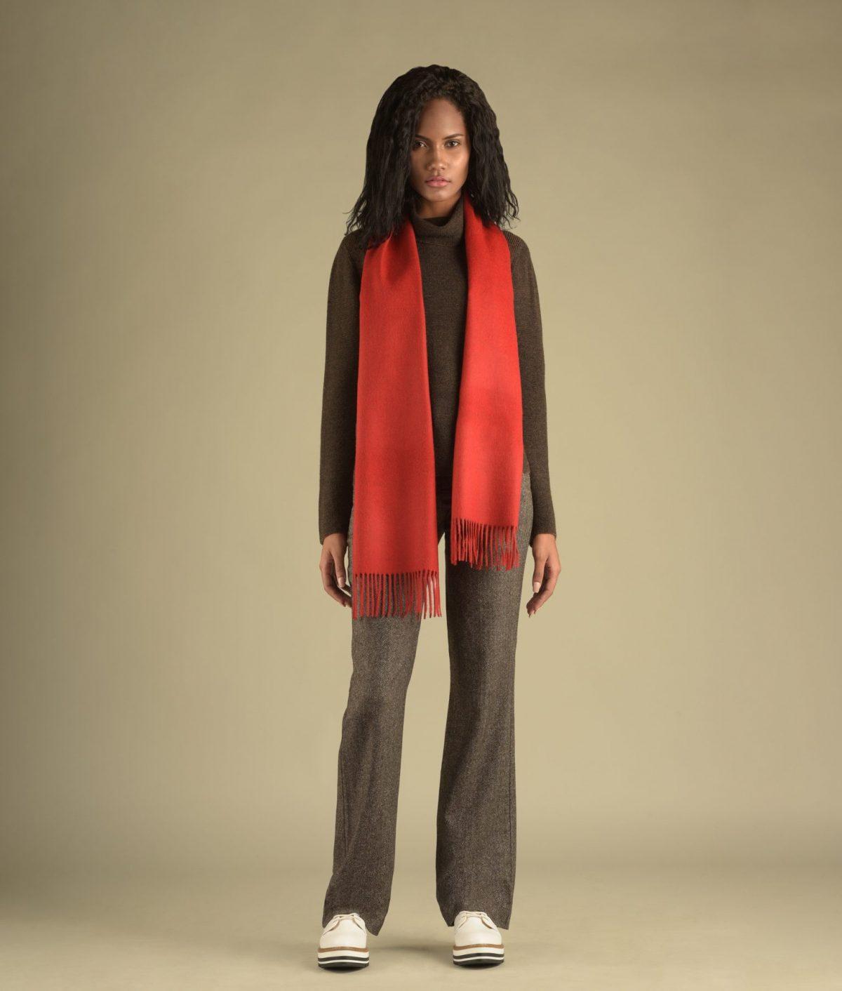 Écharpe brossée rouge Premium en super baby alpaga